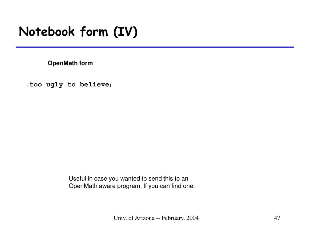 Notebook form (IV)