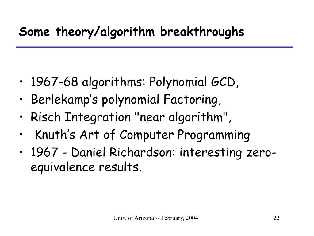 Some theory/algorithm breakthroughs