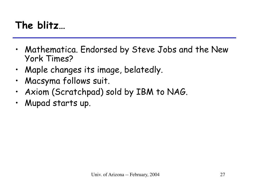 The blitz…