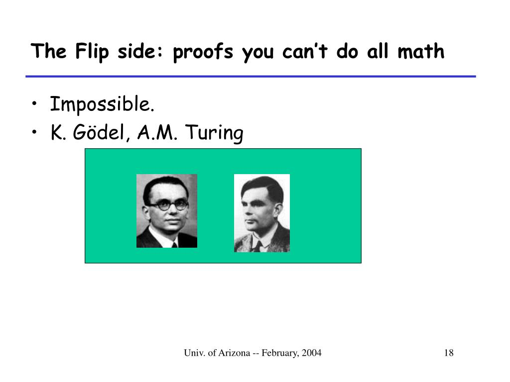 The Flip side: proofs you can't do all math