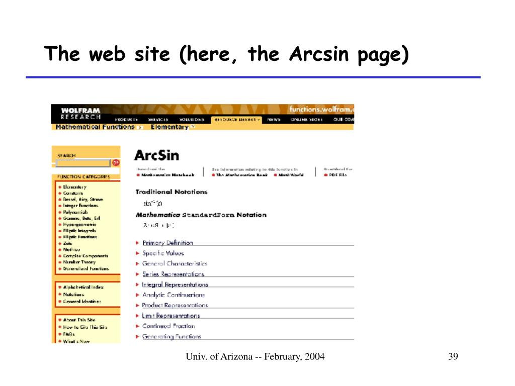 The web site (here, the Arcsin page)