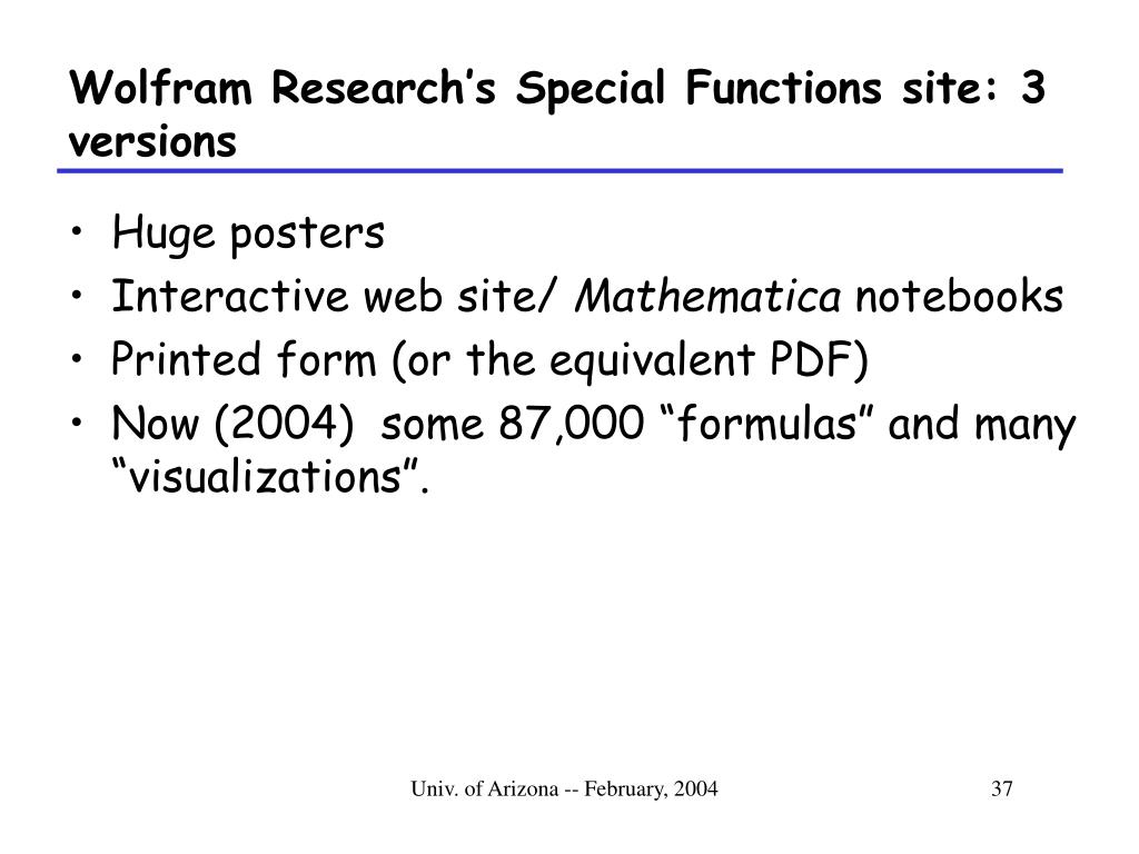 Wolfram Research's Special Functions site: 3 versions