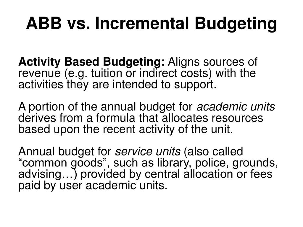 abb activity based budgeting Page 1 of 5 activity-based budgeting: a worked example by john currie, examiner in professional 2 strategic performance management one of the benefits of an activity.