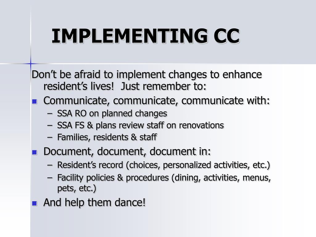 IMPLEMENTING CC
