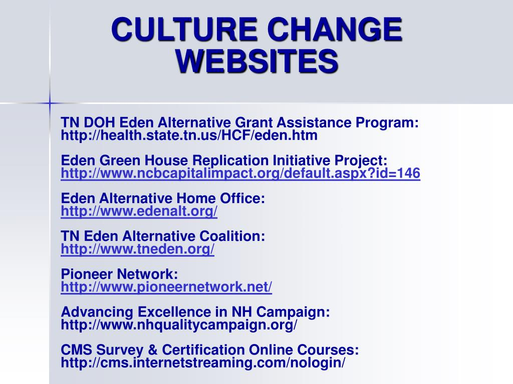 CULTURE CHANGE WEBSITES