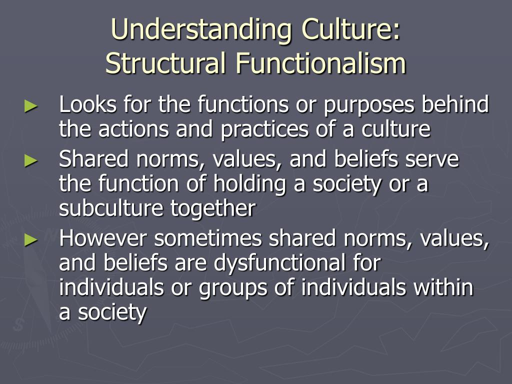 functionalist perspective racial beliefs serve for the dominant group The functionalist perspective is one of the most dominant core perspectives in sociology and is an analysis of social and cultural phenomena in terms of the functions they perform in a social system.