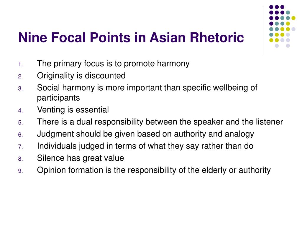 Nine Focal Points in Asian Rhetoric