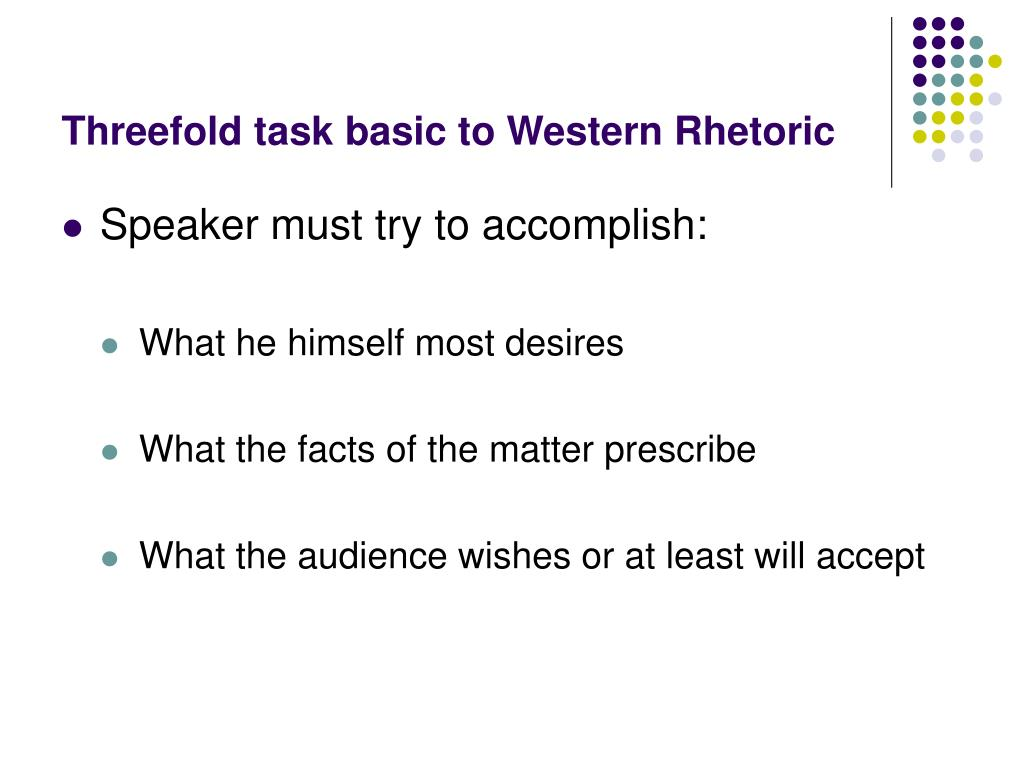 Threefold task basic to Western Rhetoric