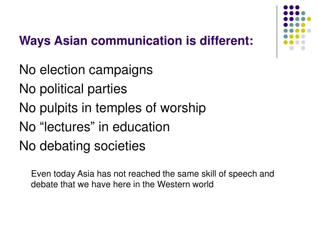 Ways Asian communication is different:
