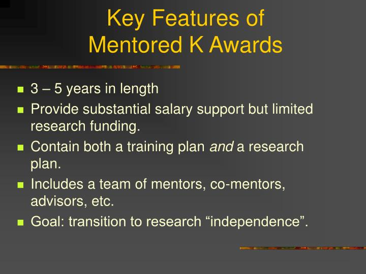 Key features of mentored k awards