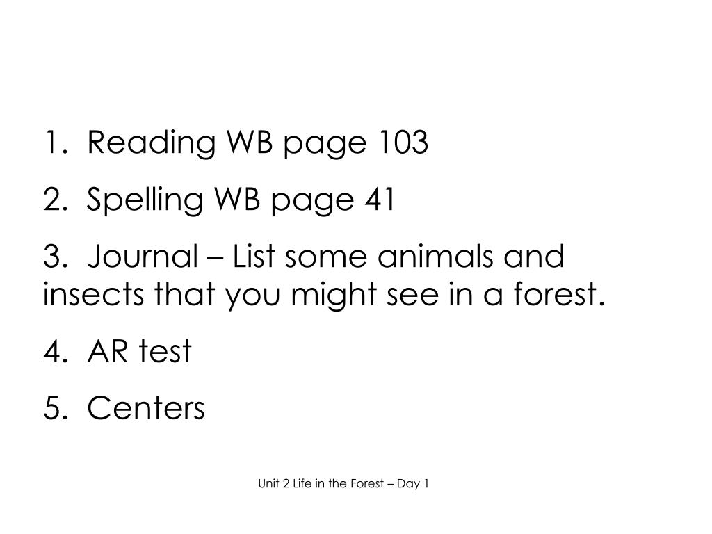 1.  Reading WB page 103