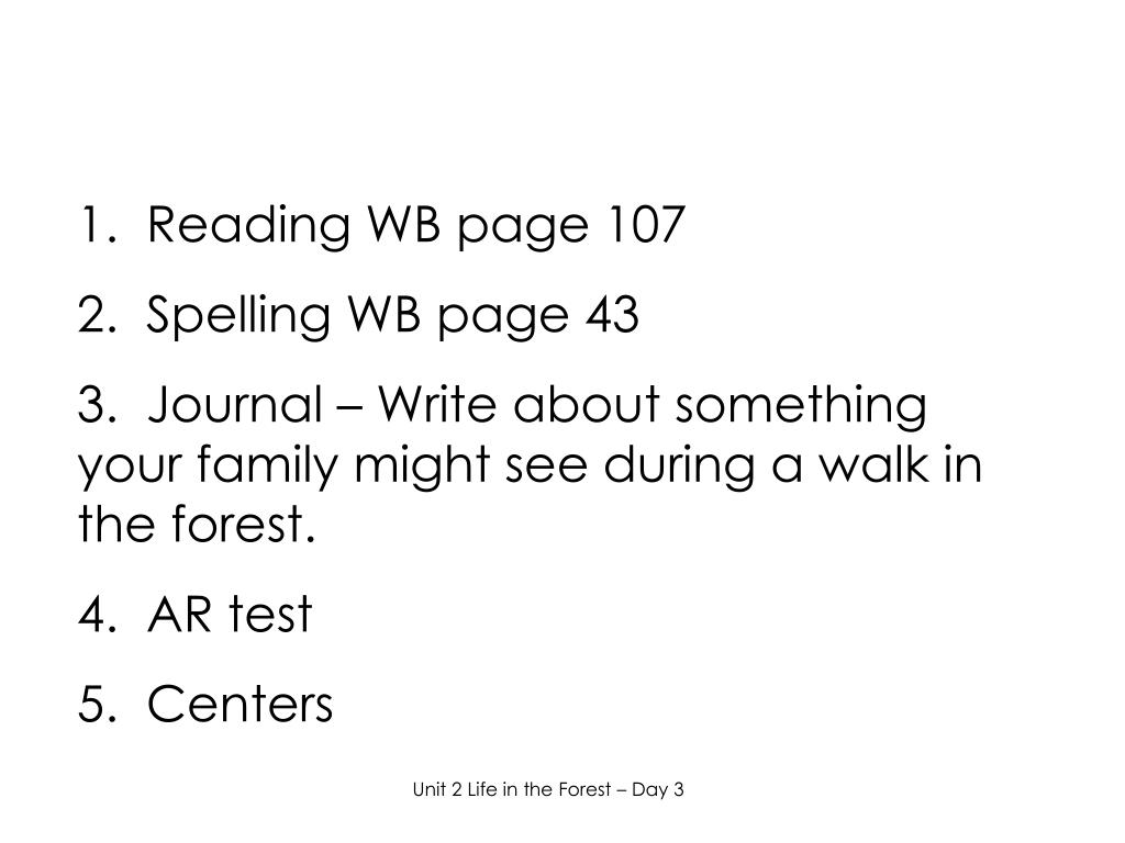 1.  Reading WB page 107