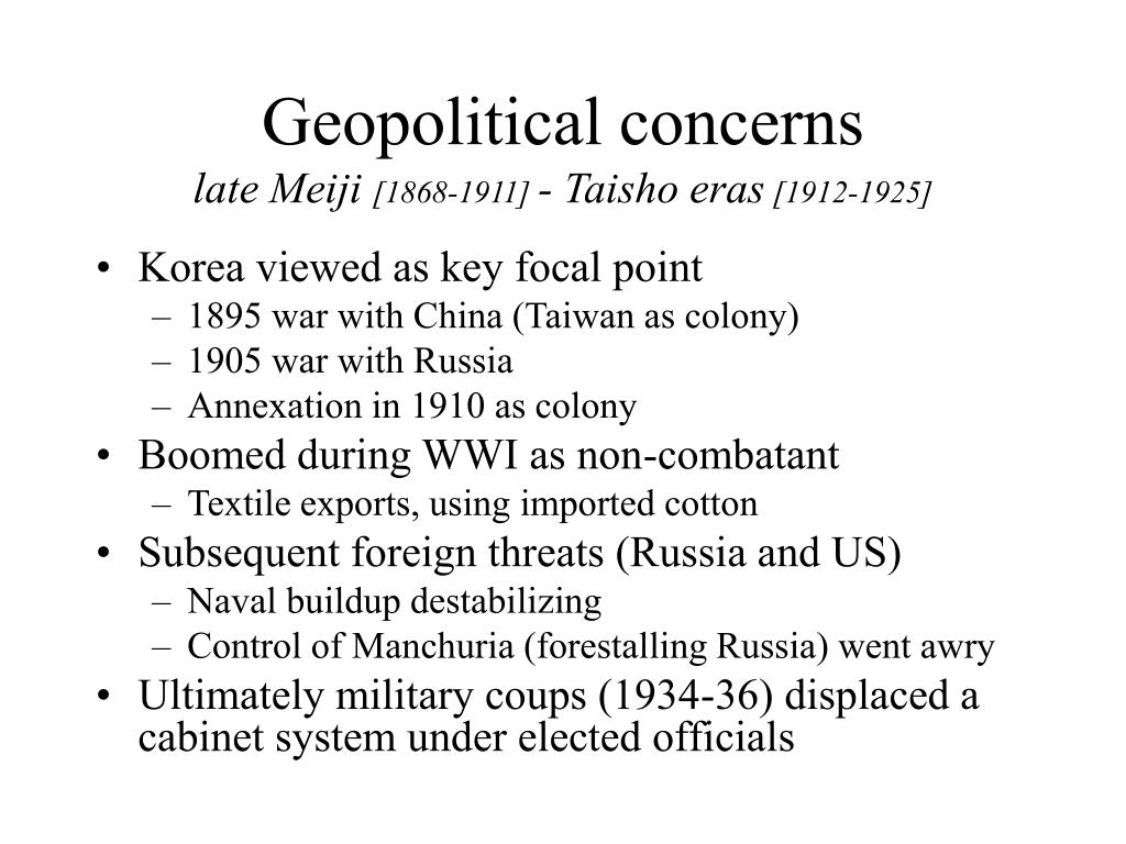 Geopolitical concerns