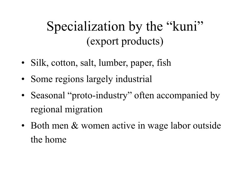 "Specialization by the ""kuni"""