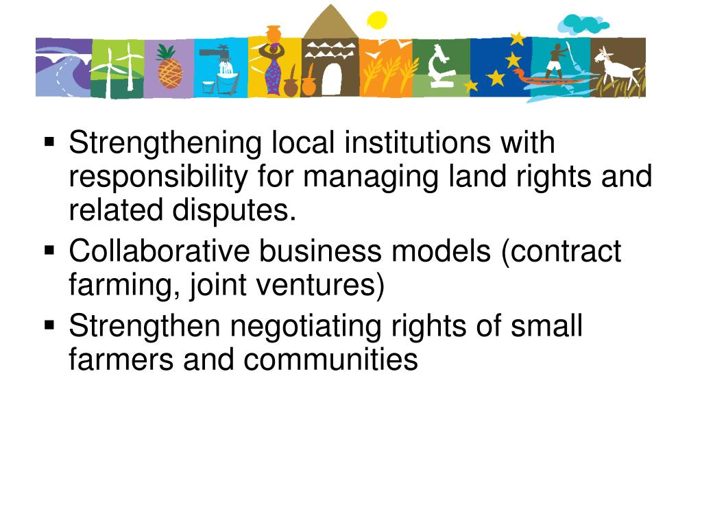 Strengthening local institutions with responsibility for managing land rights and related disputes.