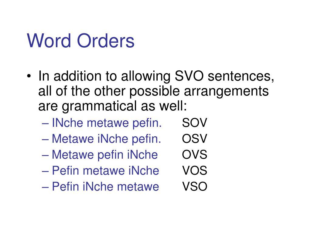 Word Orders