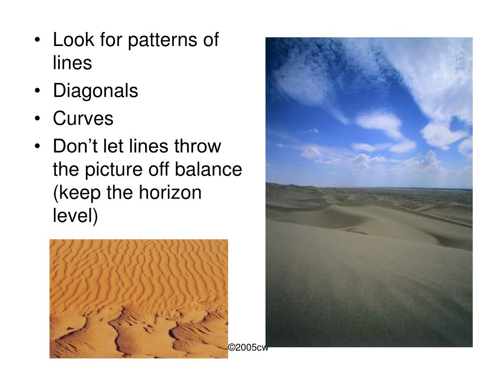 Look for patterns of lines