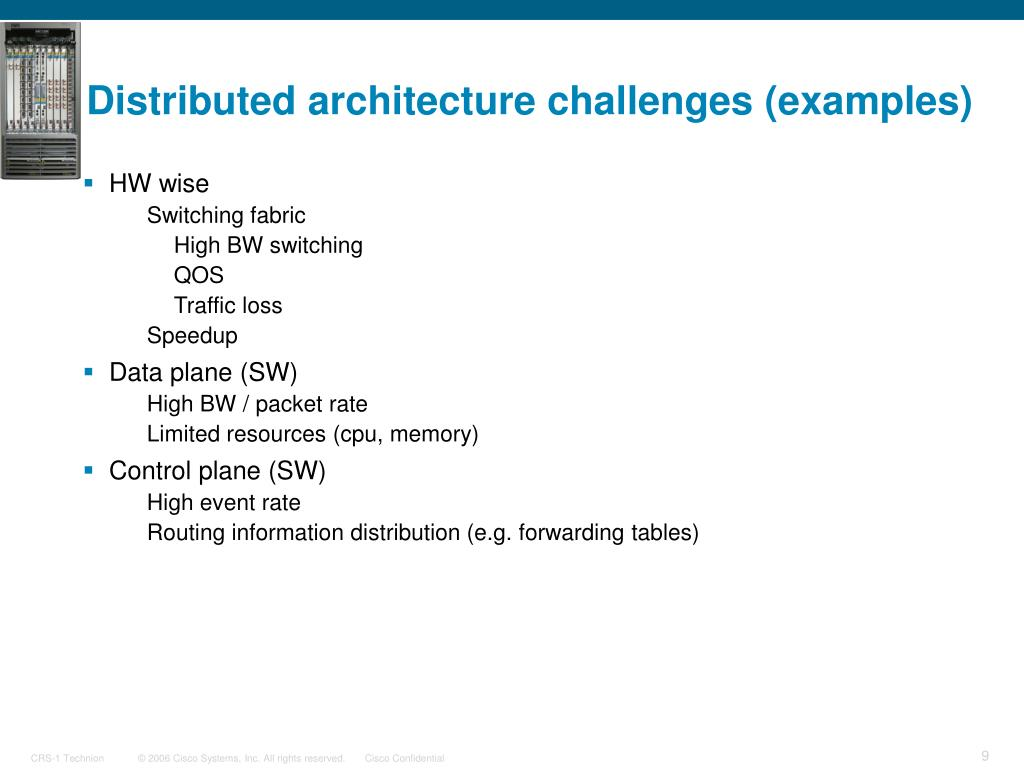 Distributed architecture challenges (examples)