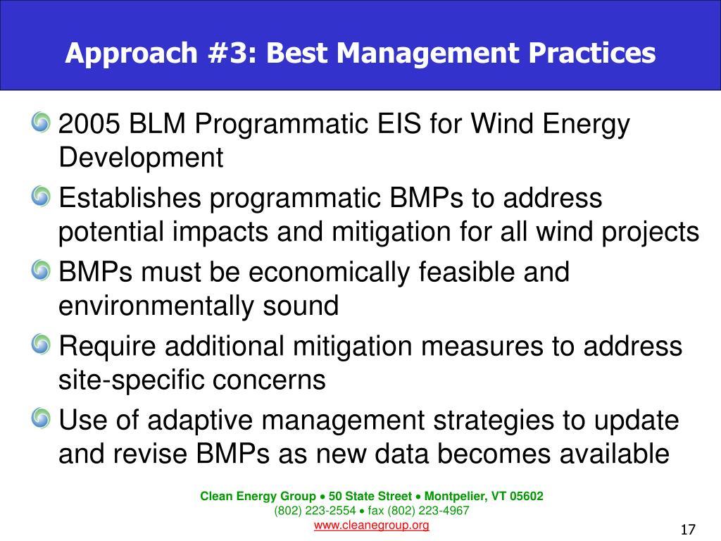 Approach #3: Best Management Practices
