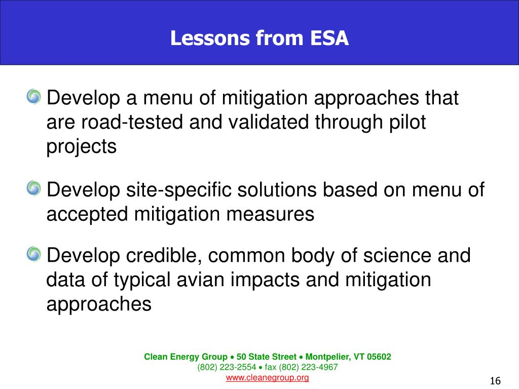 Develop a menu of mitigation approaches that are road-tested and validated through pilot projects