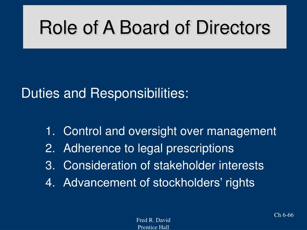Role of A Board of Directors