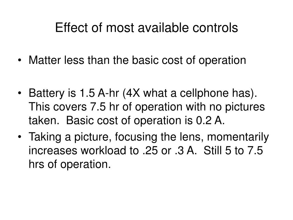 Effect of most available controls