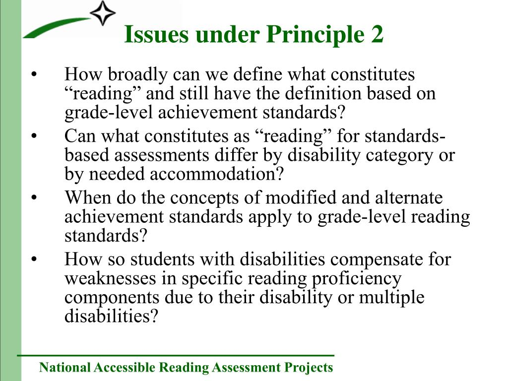 "How broadly can we define what constitutes ""reading"" and still have the definition based on grade-level achievement standards?"