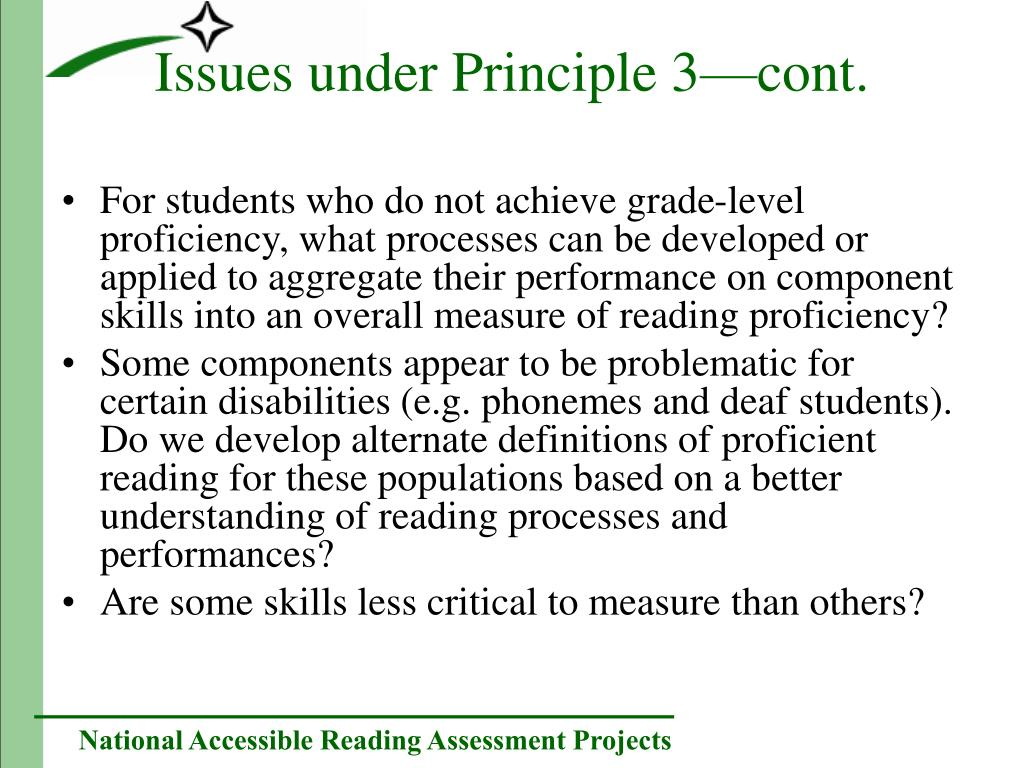 For students who do not achieve grade-level proficiency, what processes can be developed or applied to aggregate their performance on component skills into an overall measure of reading proficiency?