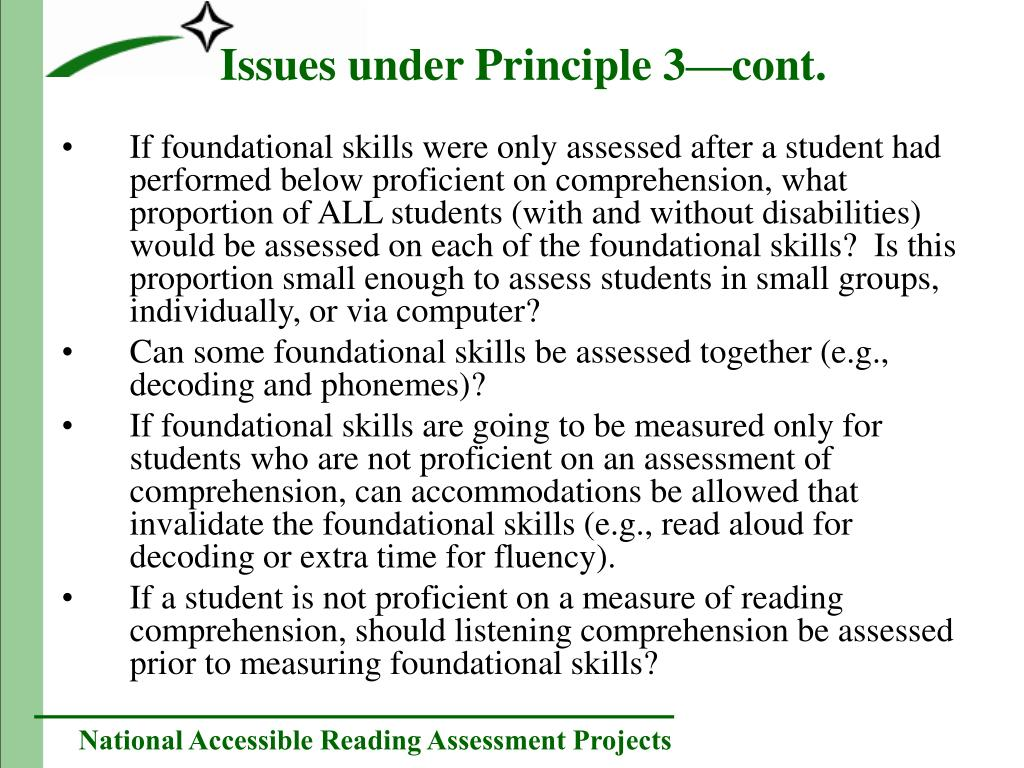 If foundational skills were only assessed after a student had performed below proficient on comprehension, what proportion of ALL students (with and without disabilities) would be assessed on each of the foundational skills?  Is this proportion small enough to assess students in small groups, individually, or via computer?