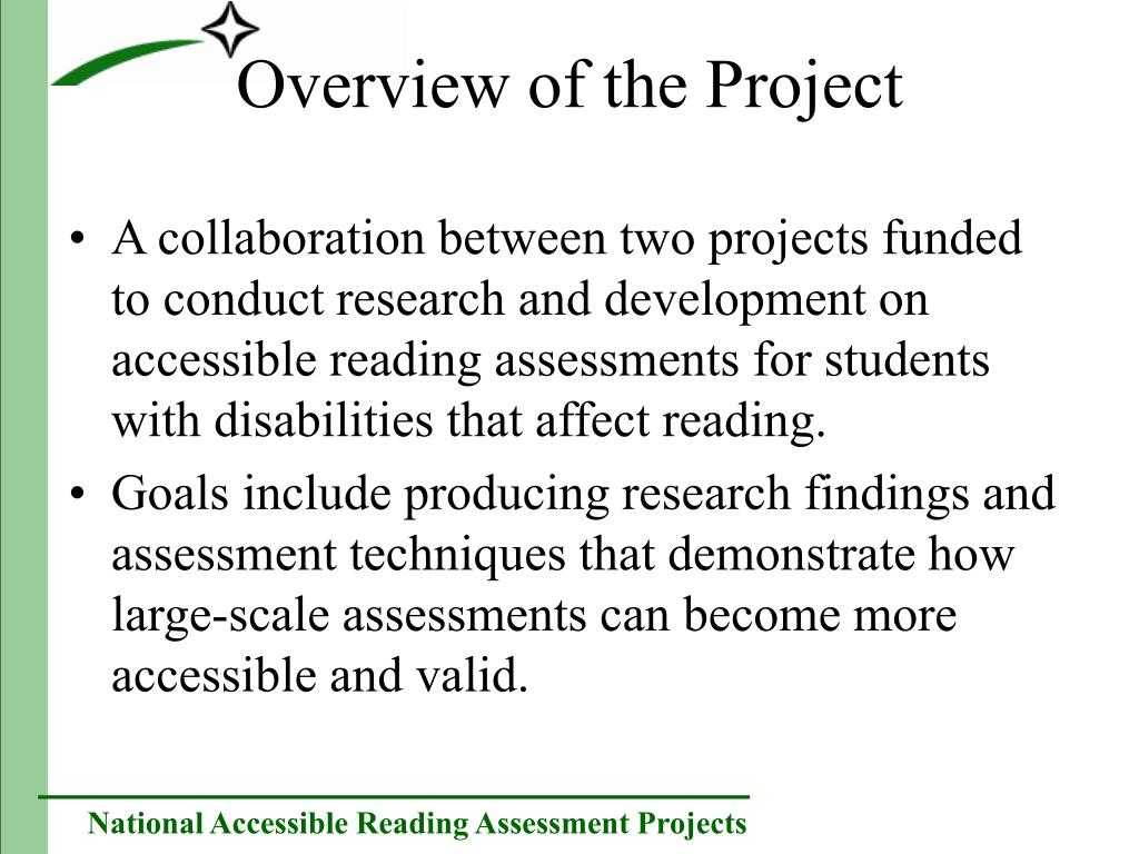 A collaboration between two projects funded to conduct research and development on accessible reading assessments for students with disabilities that affect reading.