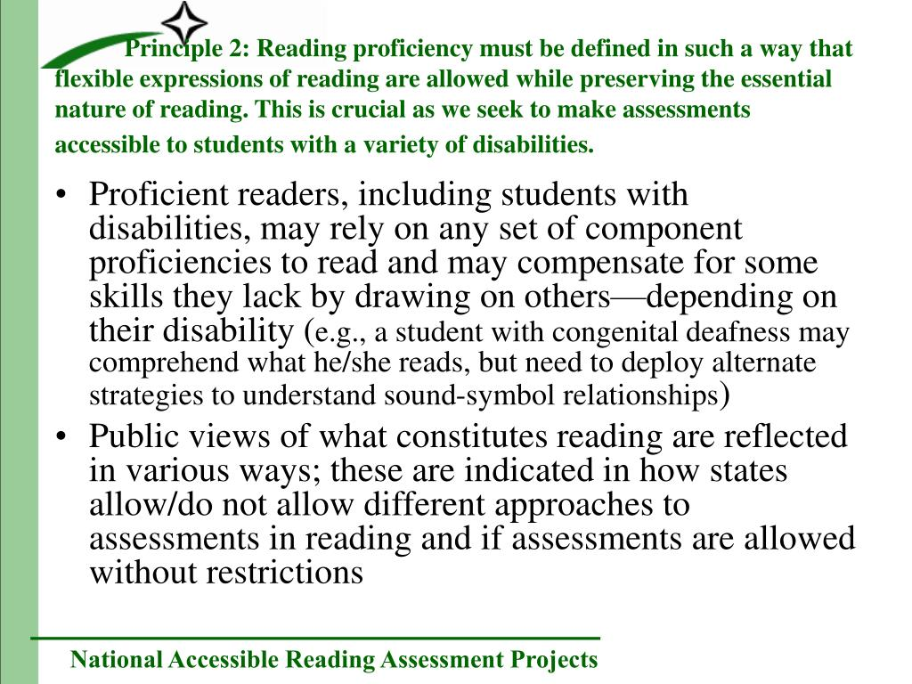 Proficient readers, including students with disabilities, may rely on any set of component proficiencies to read and may compensate for some skills they lack by drawing on others—depending on their disability (