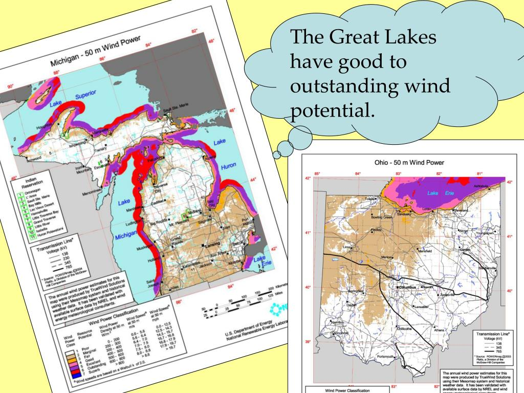 The Great Lakes have good to outstanding wind potential.