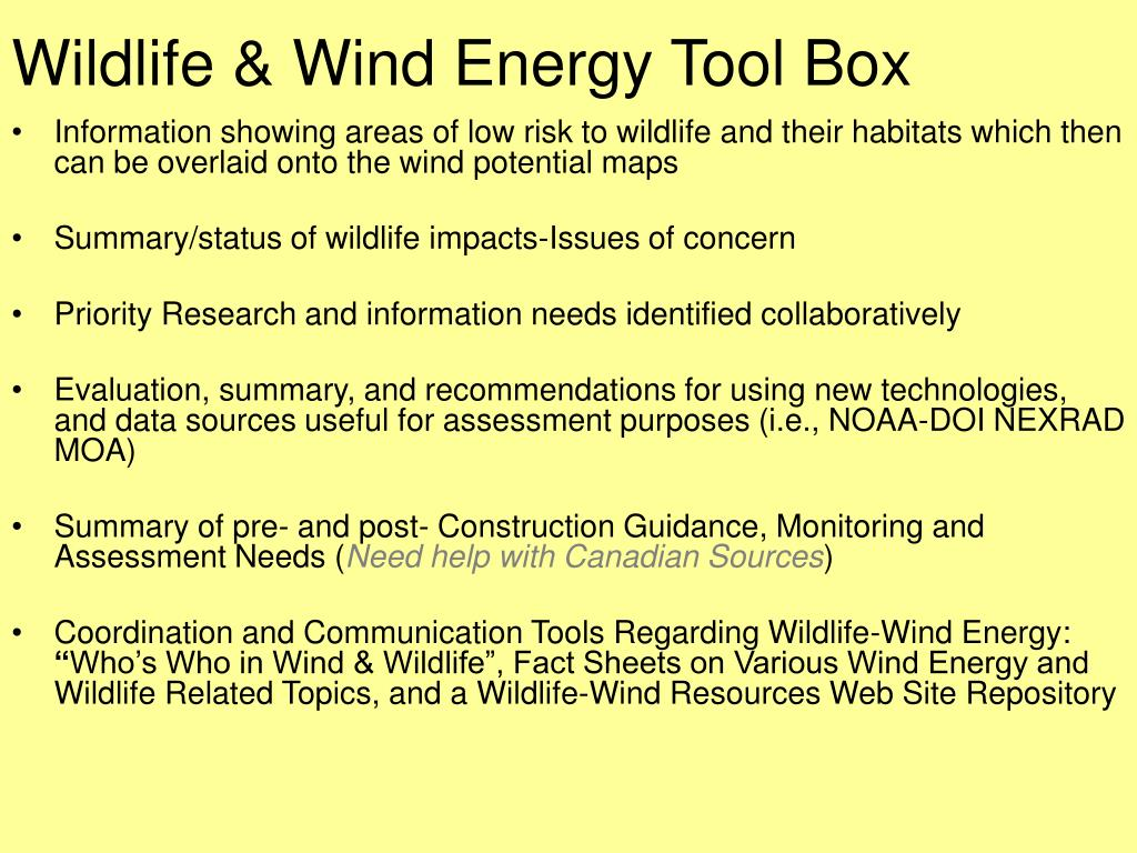 Wildlife & Wind Energy Tool Box