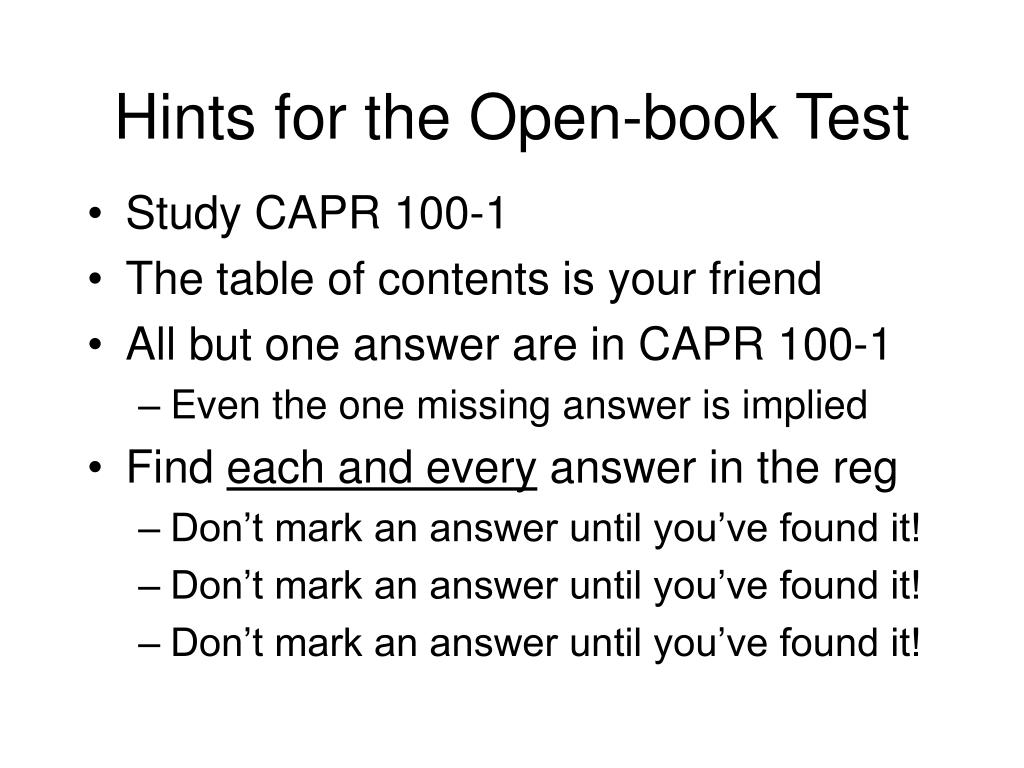 Hints for the Open-book Test