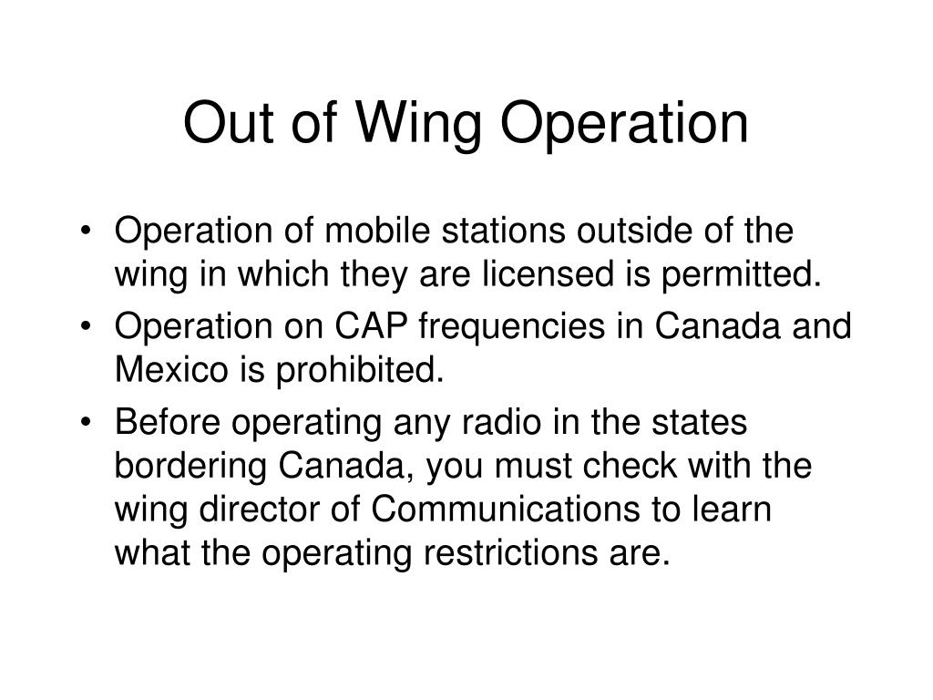 Out of Wing Operation