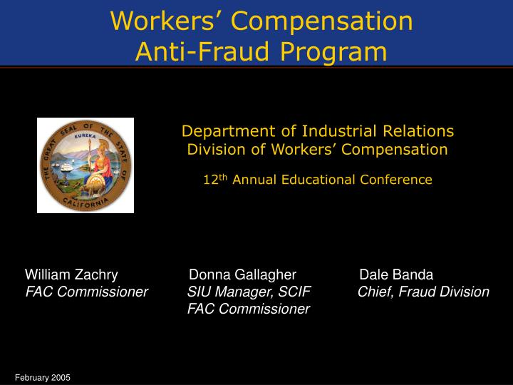 Ppt Workers Compensation Anti Fraud Program Powerpoint