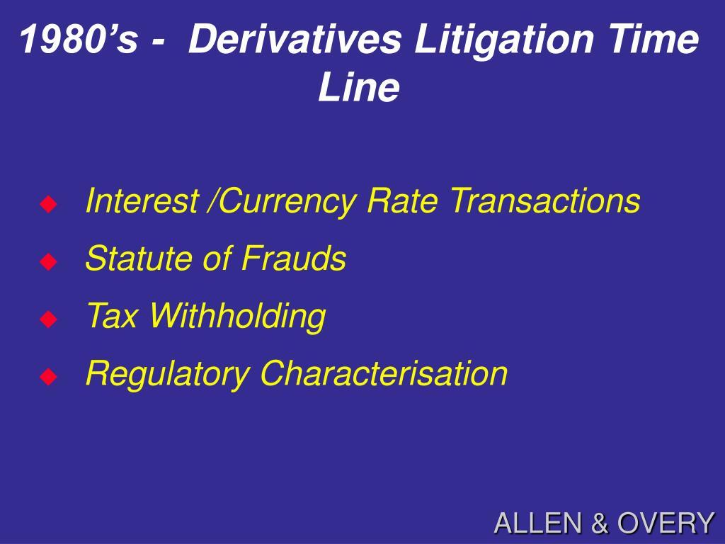 1980's -  Derivatives Litigation Time Line