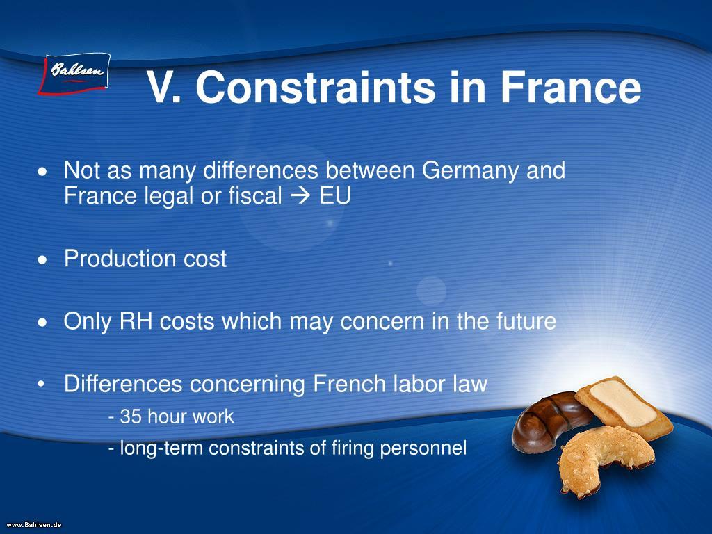 V. Constraints in France