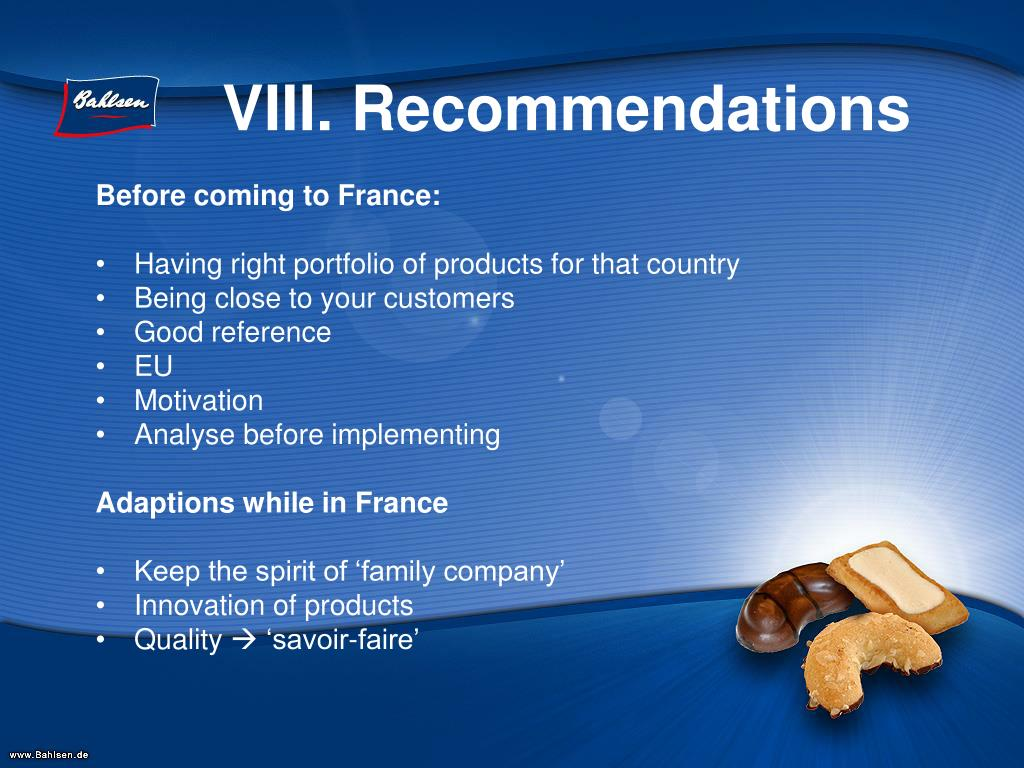 VIII. Recommendations