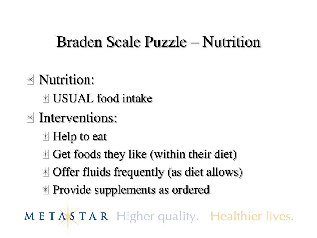 Braden Scale Puzzle – Nutrition