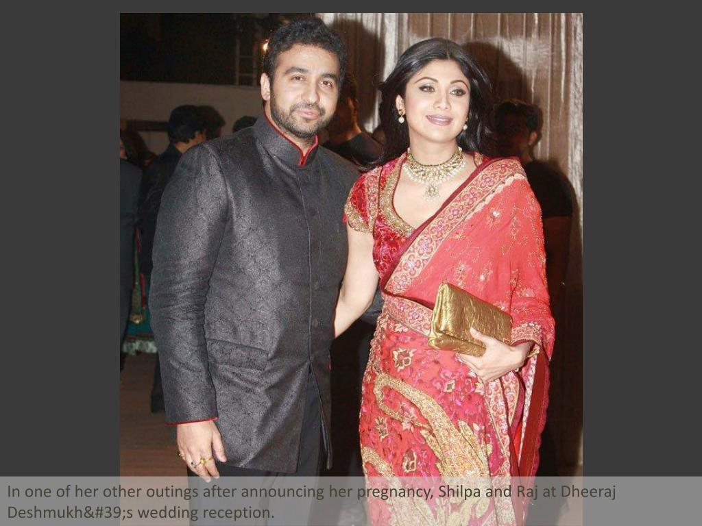 In one of her other outings after announcing her pregnancy, Shilpa and Raj at Dheeraj Deshmukh's wedding reception.