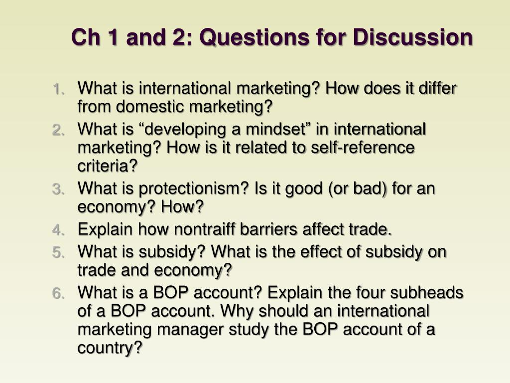 Ch 1 and 2: Questions for Discussion