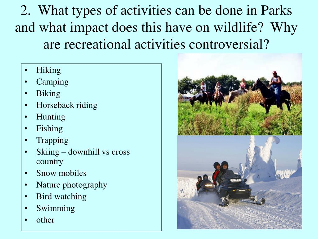 2.  What types of activities can be done in Parks and what impact does this have on wildlife?  Why are recreational activities controversial?