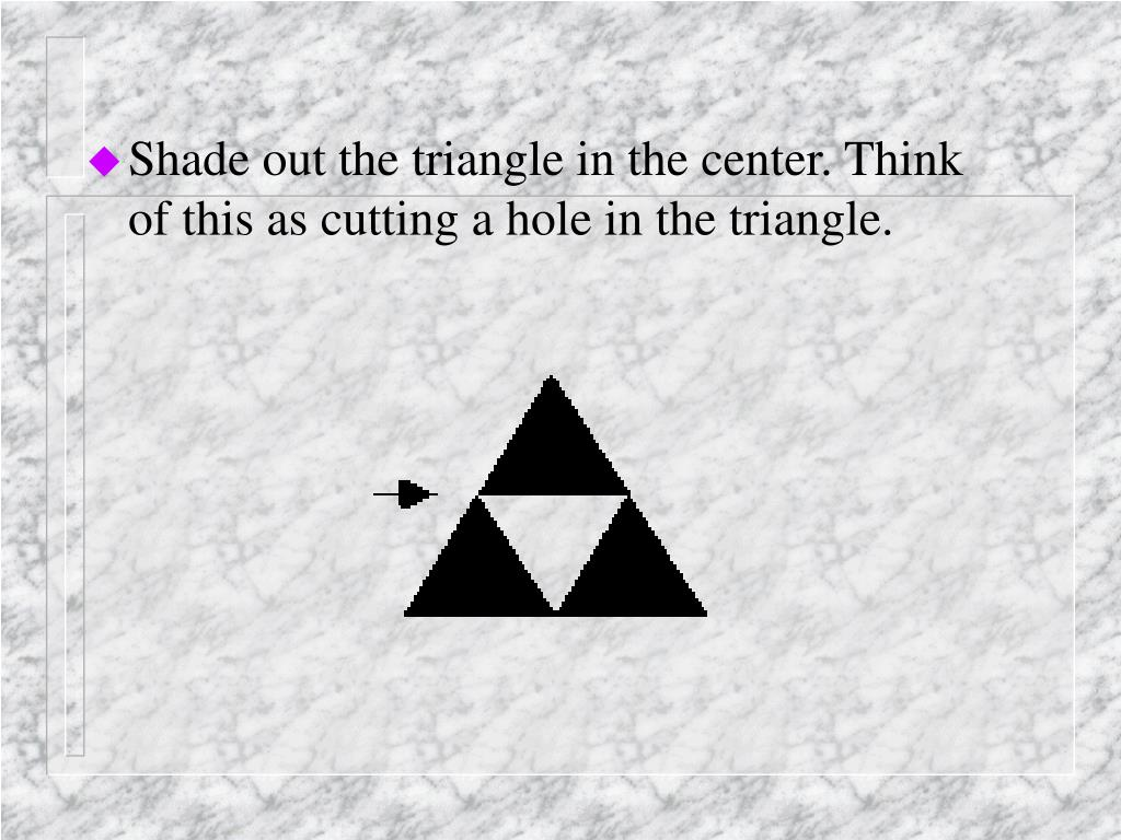 Shade out the triangle in the center. Think of this as cutting a hole in the triangle.