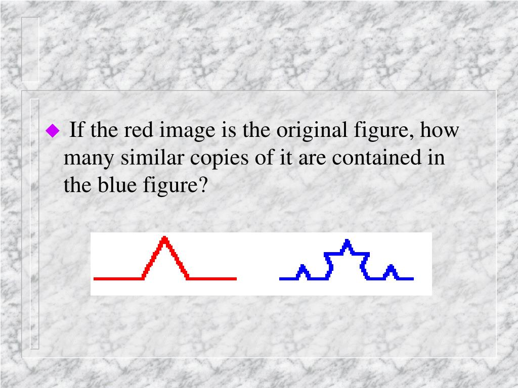 If the red image is the original figure, how many similar copies of it are contained in the blue figure?