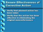 ensure effectiveness of corrective action