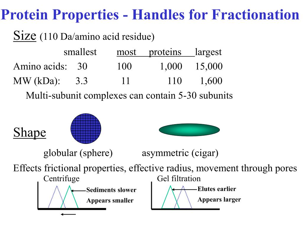 Protein Properties - Handles for Fractionation