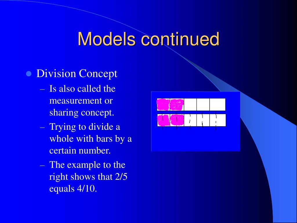 Models continued