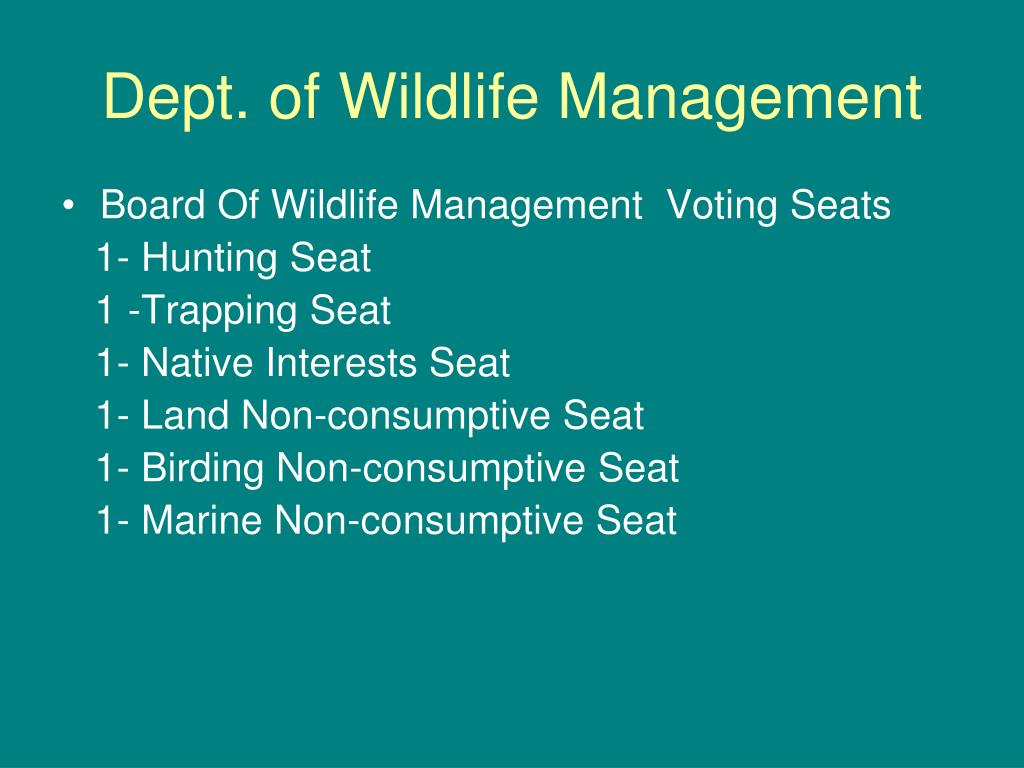 Dept. of Wildlife Management