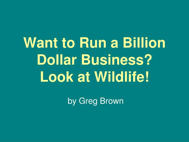 Want to run a billion dollar business look at wildlife